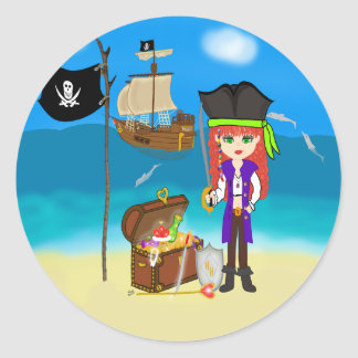 Girl Pirate with Treasure Chest Stickers