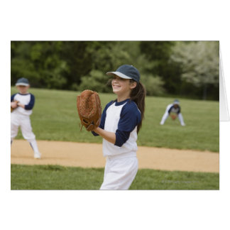 Girl pitching in little league softball game cards