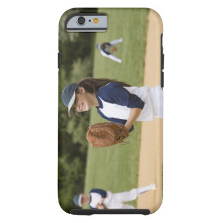 Girl pitching in little league softball game iPhone 6 case