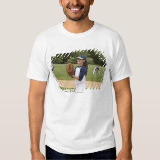 Girl pitching in little league softball game t shirt