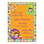 "Girl Pizza Party Birthday Invitation 5"" X 7"" Invitation Card"