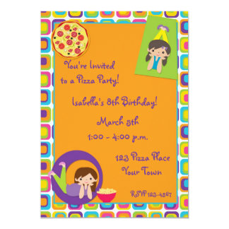 Girl Pizza Party Birthday Invitation