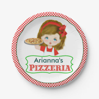 Girl Pizza Party Paper Plates