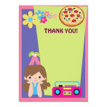Girl Pizza Party Thank You 5x7 Paper Invitation Card