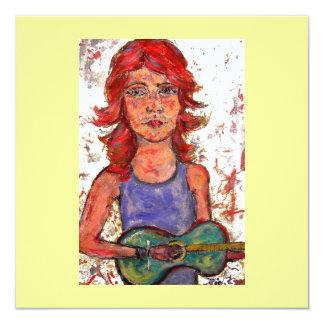 girl playin' acoustic card