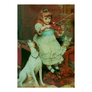 Girl playing a violin poster