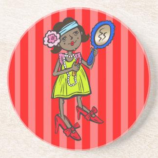 Girl Playing Dress Up Sandstone Coaster