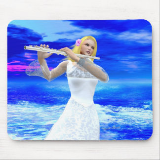 Girl Playing Flute Mouse Pad