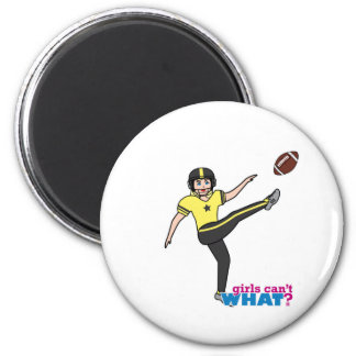 Girl Playing Football Light/Blonde Magnets