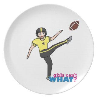 Girl Playing Football Light/Blonde Plate