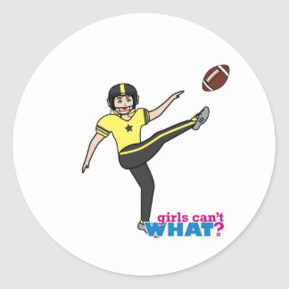 Girl Playing Football Light/Blonde Round Stickers