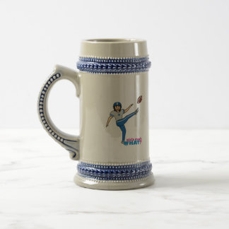 Girl Playing Football - Medium Beer Stein