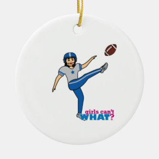Girl Playing Football - Medium Ceramic Ornament
