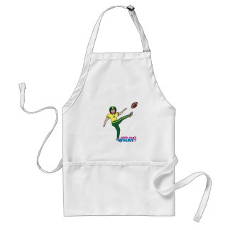Girl Playing Football Red/Light Adult Apron