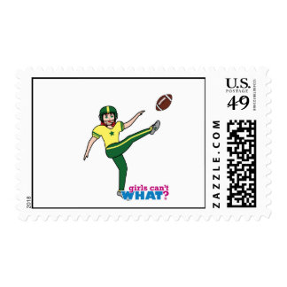 Girl Playing Football Red/Light Postage Stamp
