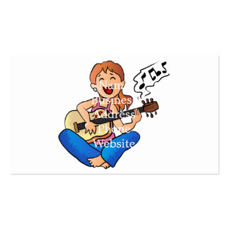 girl playing guitar business card