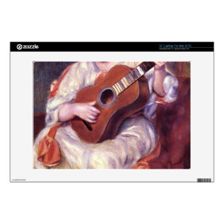 Girl Playing Guitar by Pierre Renoir Decals For Laptops