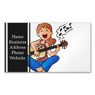 girl playing guitar magnetic business card