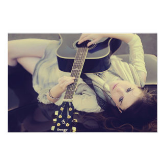 girl playing guitar on a car roof print