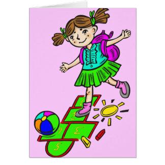Girl Playing Hopscotch 2 Card