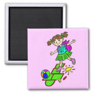 Girl Playing Hopscotch 2 Fridge Magnet