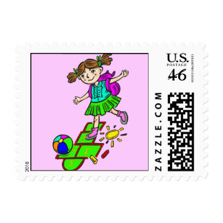 Girl Playing Hopscotch 2 Postage Stamps