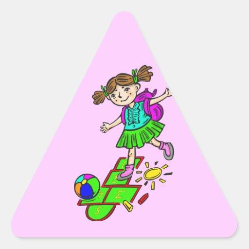 Girl Playing Hopscotch 2 Triangle Sticker
