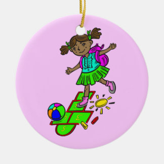 Girl Playing Hopscotch Christmas Tree Ornament