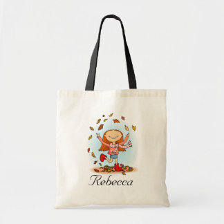 Girl playing in leaves fall library name bag