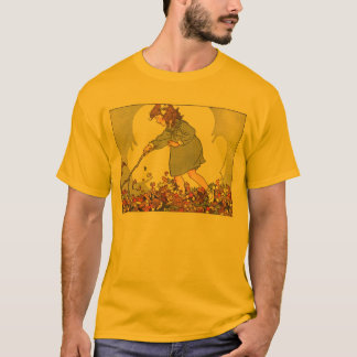 Girl Playing in Leaves T-Shirt