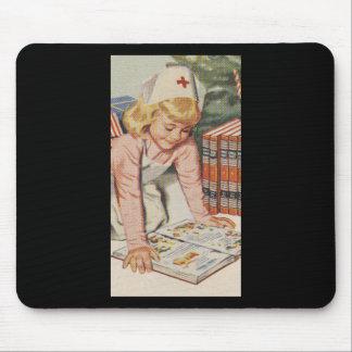 Girl playing Nurse - Retro Mouse Pad