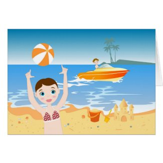Girl playing on the beach cards