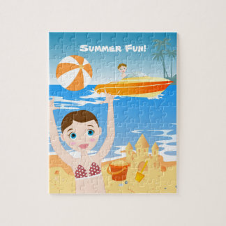 Girl playing on the beach puzzle