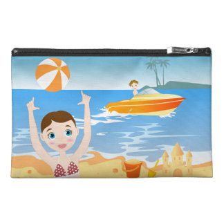 Girl playing on the beach travel accessory bag