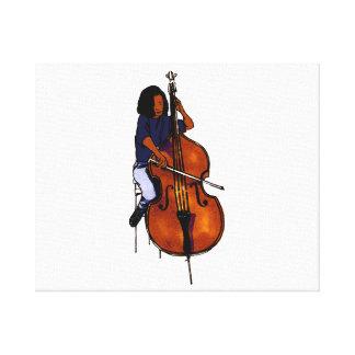 Girl playing orchestra bass blue shirt dark gallery wrap canvas
