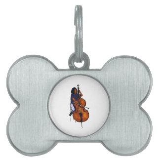 Girl playing orchestra bass blue shirt dark pet tag