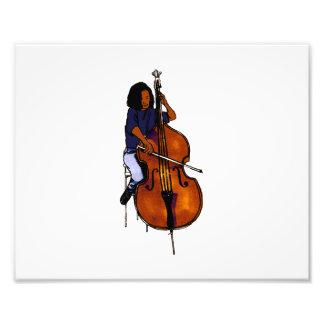 Girl playing orchestra bass blue shirt dark photo art