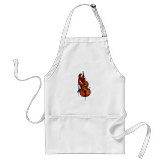 Girl playing orchestra bass red shirt adult apron