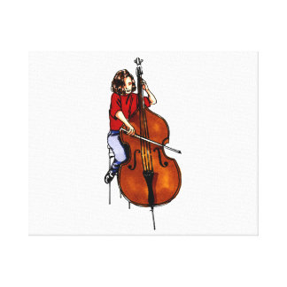 Girl playing orchestra bass red shirt stretched canvas prints