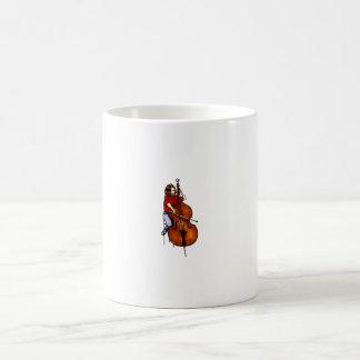 Girl playing orchestra bass red shirt coffee mug