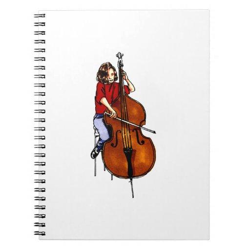 Girl playing orchestra bass red shirt spiral notebook