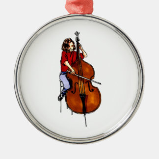 Girl playing orchestra bass red shirt round metal christmas ornament