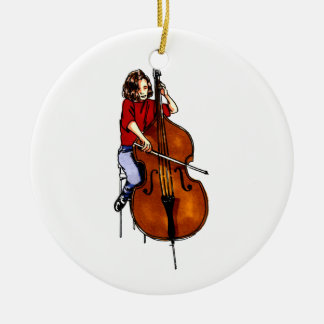 Girl playing orchestra bass red shirt Double-Sided ceramic round christmas ornament