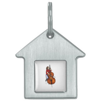 Girl playing orchestra bass red shirt pet tag