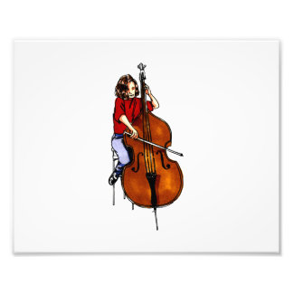 Girl playing orchestra bass red shirt art photo
