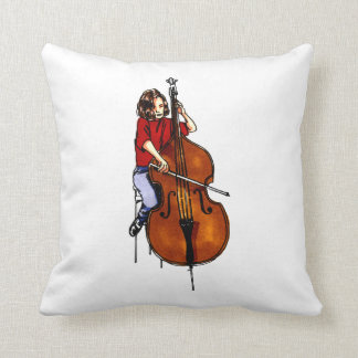Girl playing orchestra bass red shirt throw pillows