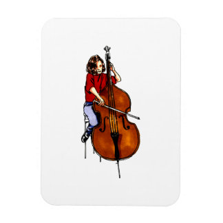 Girl playing orchestra bass red shirt flexible magnet