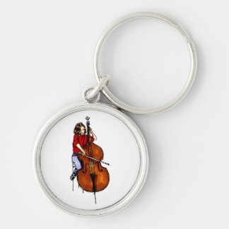 Girl playing orchestra bass red shirt Silver-Colored round keychain