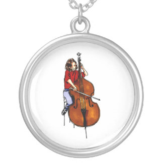 Girl playing orchestra bass red shirt silver plated necklace