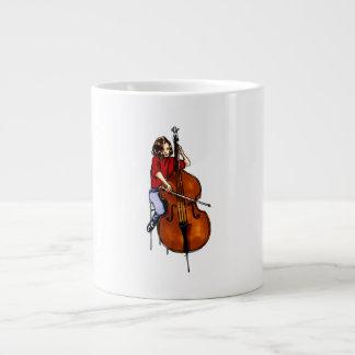 Girl playing orchestra bass red shirt 20 oz large ceramic coffee mug